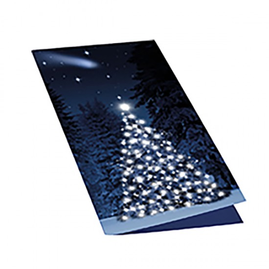 Christmas card with wooden tree