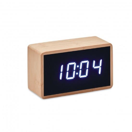 Бамбуков часовник с LED дисплей, който показва час и температура